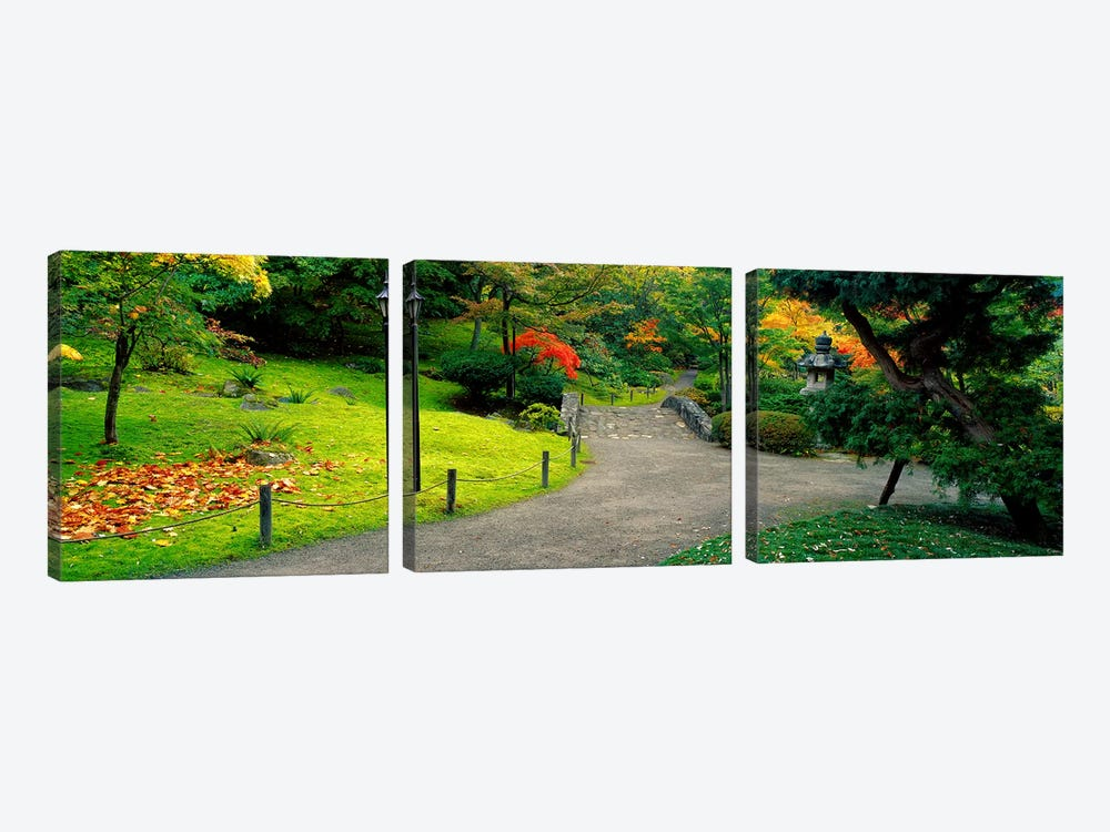 Stone BridgeThe Japanese Garden, Seattle, Washington State, USA 3-piece Canvas Print