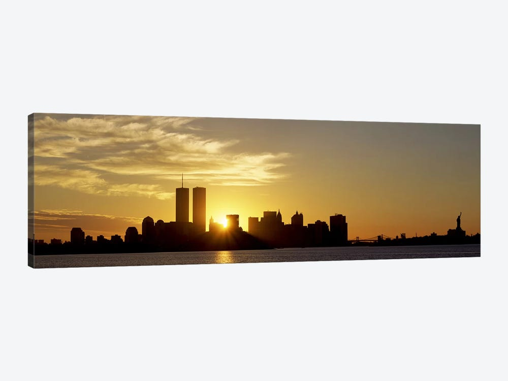 Manhattan skyline & a statue at sunriseStatue of Liberty, New York City, New York State, USA by Panoramic Images 1-piece Canvas Art
