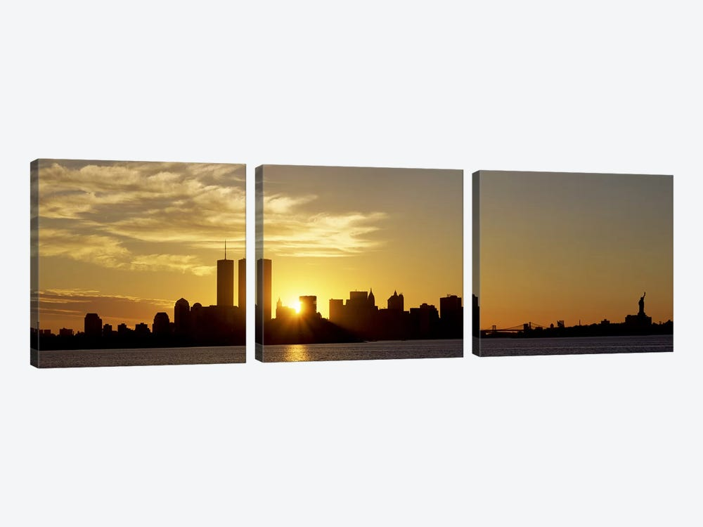 Manhattan skyline & a statue at sunriseStatue of Liberty, New York City, New York State, USA by Panoramic Images 3-piece Canvas Art