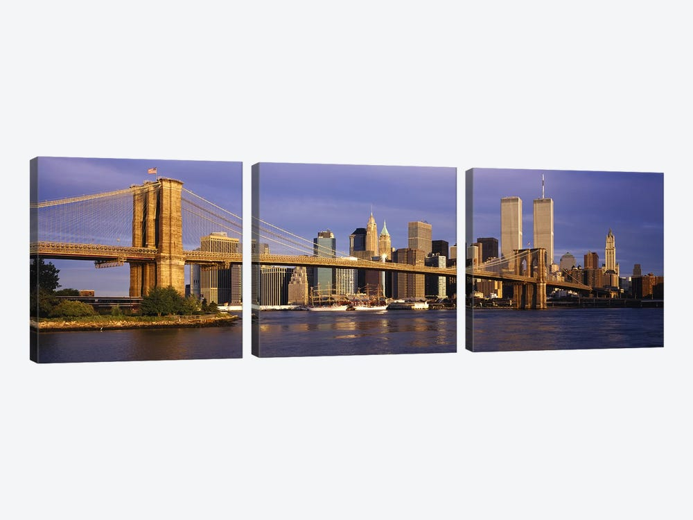Brooklyn Bridge & Manhattan Skyline, New York City, New York, USA by Panoramic Images 3-piece Art Print