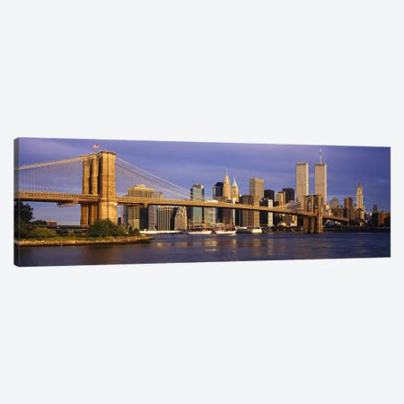 Brooklyn Bridge & Manhattan Skyline, New York City, New York, USA 3-Piece Canvas #PIM2641} by Panoramic Images Canvas Print