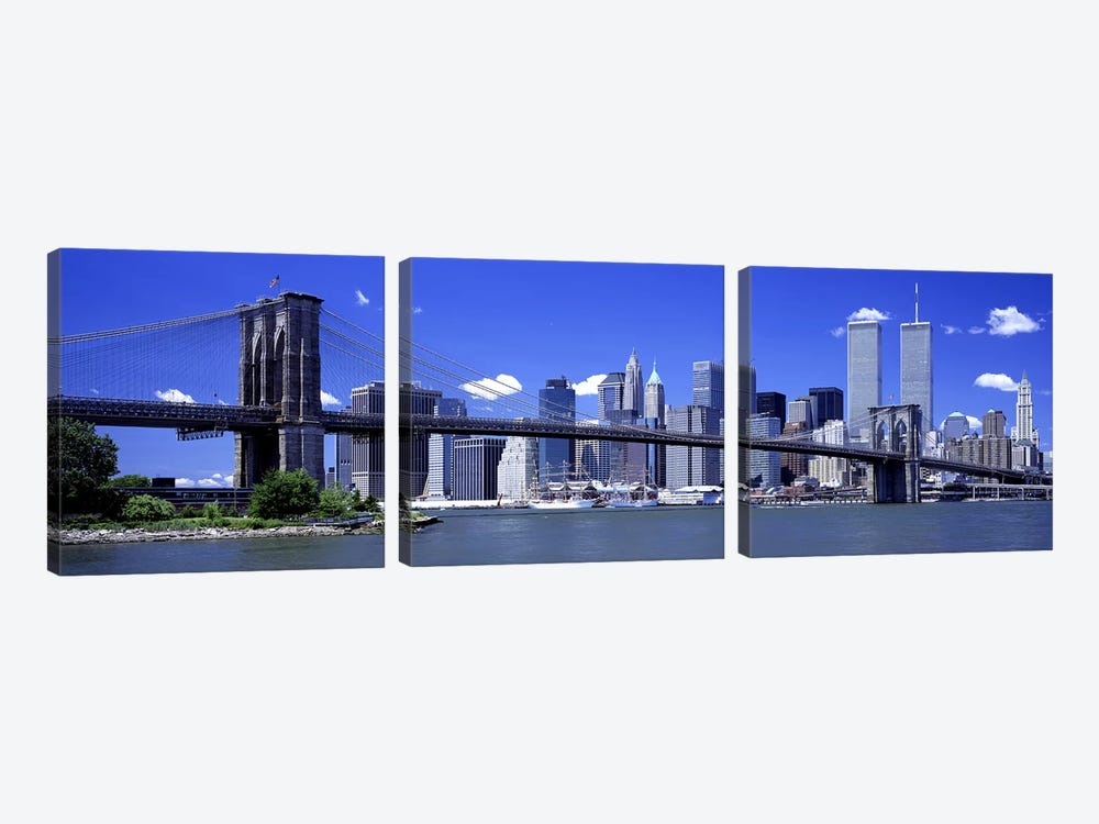Brooklyn Bridge Skyline New York City NY USA by Panoramic Images 3-piece Canvas Artwork