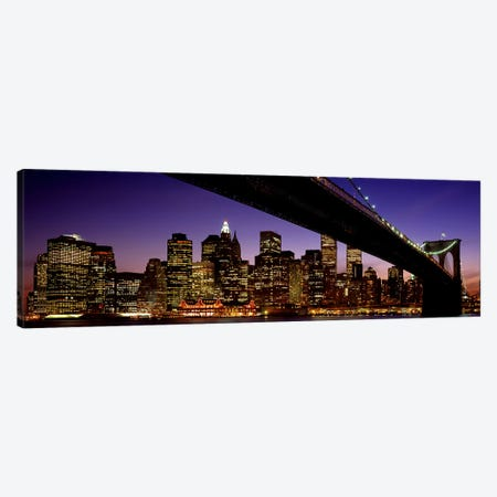 Night Brooklyn Bridge Skyline New York City NY USA Canvas Print #PIM2643} by Panoramic Images Art Print