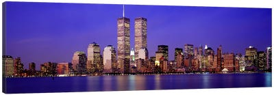 Buildings at the waterfront lit up at dusk, World Trade Center, Wall Street, Manhattan, New York City, New York State, USA Canvas Art Print