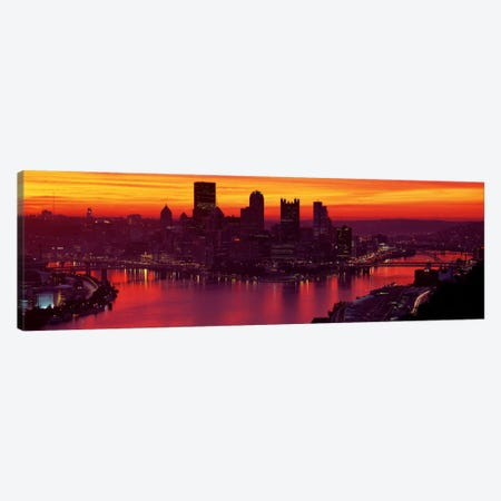 Silhouette of buildings at dawn, Three Rivers Stadium, Pittsburgh, Allegheny County, Pennsylvania, USA Canvas Print #PIM2645} by Panoramic Images Canvas Artwork