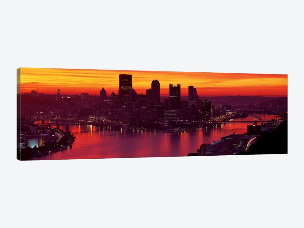 Silhouette of buildings at dawn, Three Rivers Stadium, Pittsburgh, Allegheny County, Pennsylvania, USA by Panoramic Images 1-piece Canvas Print