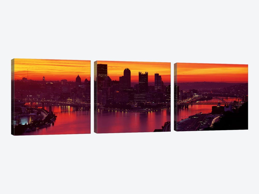 Silhouette of buildings at dawn, Three Rivers Stadium, Pittsburgh, Allegheny County, Pennsylvania, USA by Panoramic Images 3-piece Canvas Art Print