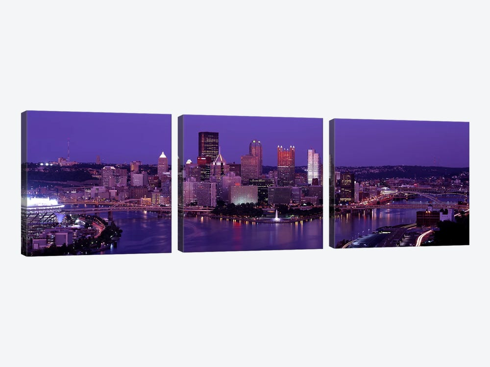 Dusk Pittsburgh PA USA 3-piece Canvas Wall Art