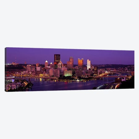 Dusk Pittsburgh PA USA Canvas Print #PIM2647} by Panoramic Images Canvas Art