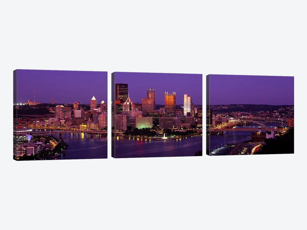Dusk Pittsburgh PA USA by Panoramic Images 3-piece Art Print