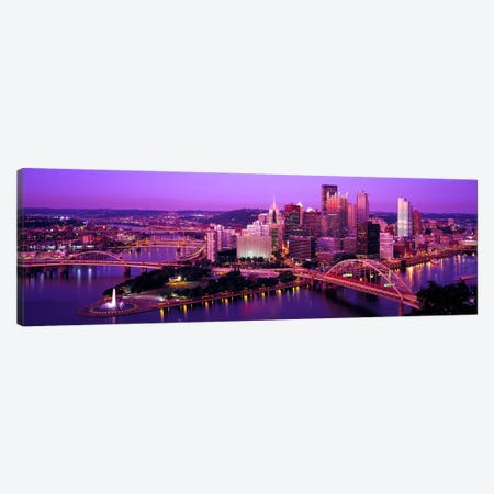DuskPittsburgh, Pennsylvania, USA Canvas Print #PIM2650} by Panoramic Images Canvas Wall Art