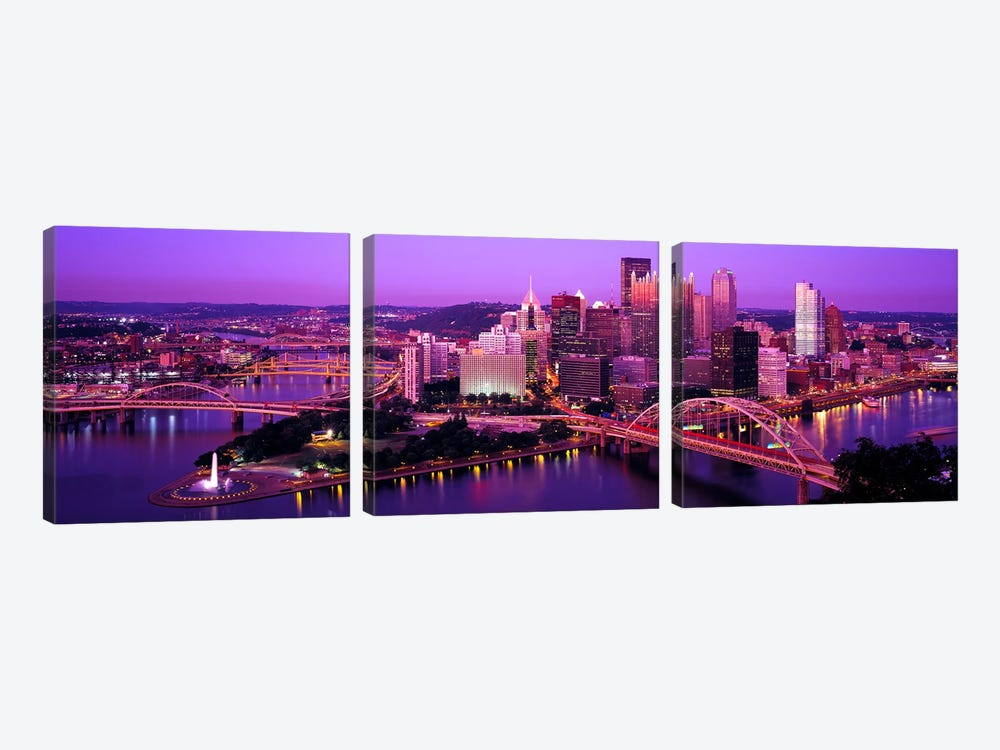 DuskPittsburgh, Pennsylvania, USA 3-piece Art Print