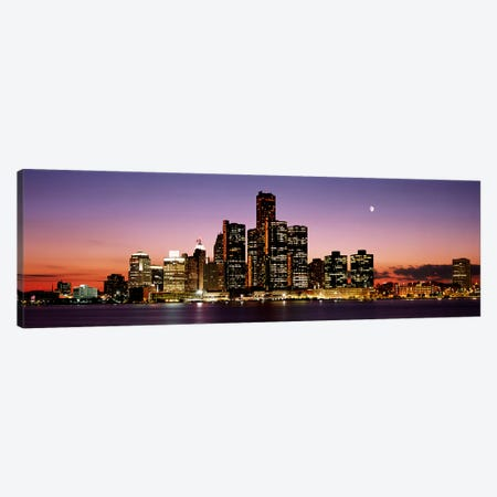 Night Skyline Detroit MI Canvas Print #PIM2652} by Panoramic Images Canvas Art