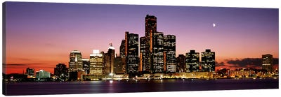 Night Skyline Detroit MI Canvas Art Print