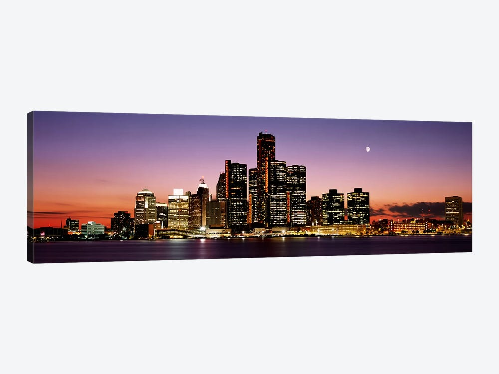 Night Skyline Detroit MI by Panoramic Images 1-piece Canvas Print