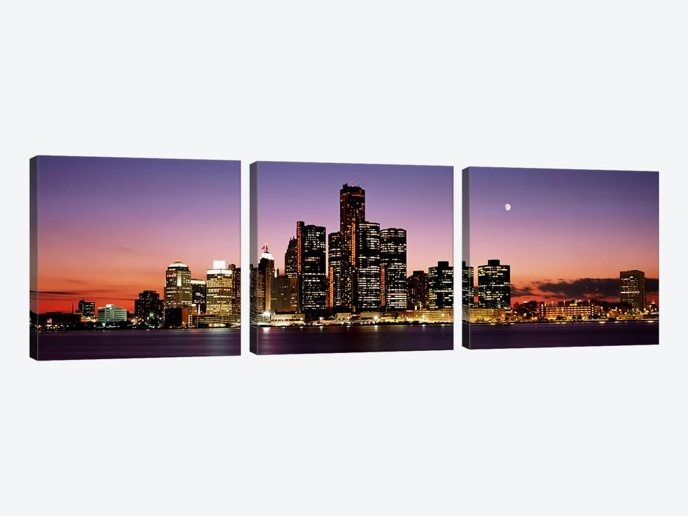 Night Skyline Detroit MI by Panoramic Images 3-piece Canvas Print