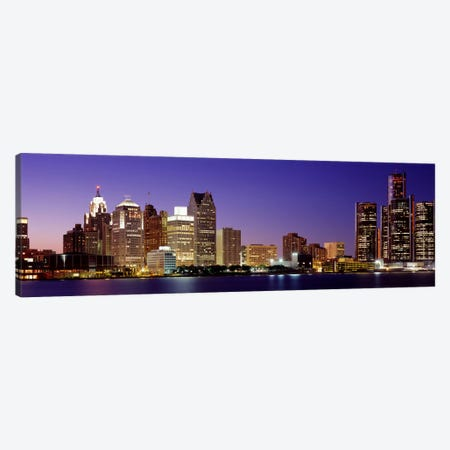 Dusk Detroit, Michigan, USA Canvas Print #PIM2653} by Panoramic Images Canvas Wall Art