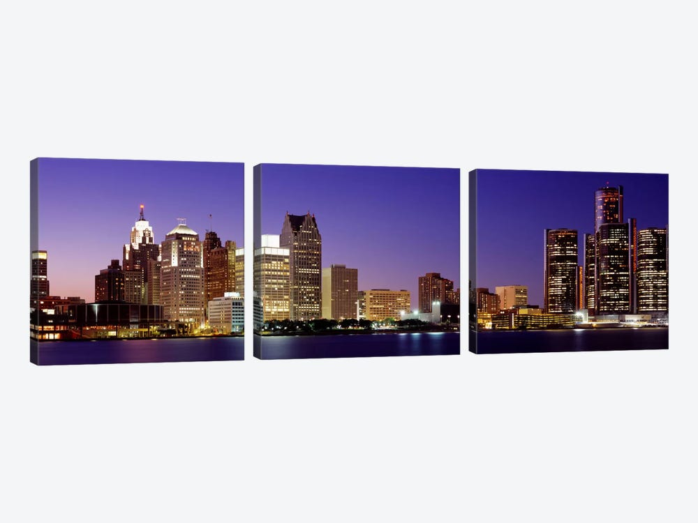 Dusk Detroit, Michigan, USA by Panoramic Images 3-piece Canvas Wall Art