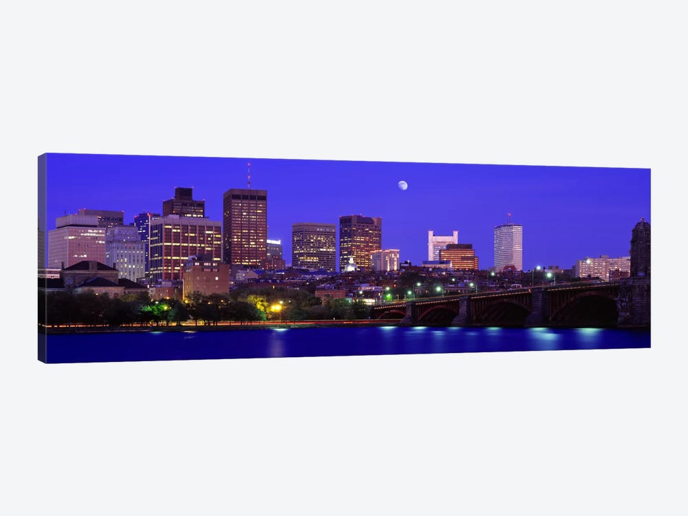Longfellow Bridge & Financial District As Seen From East Cambridge, Boston Massachusetts, USA by Panoramic Images 1-piece Canvas Art Print