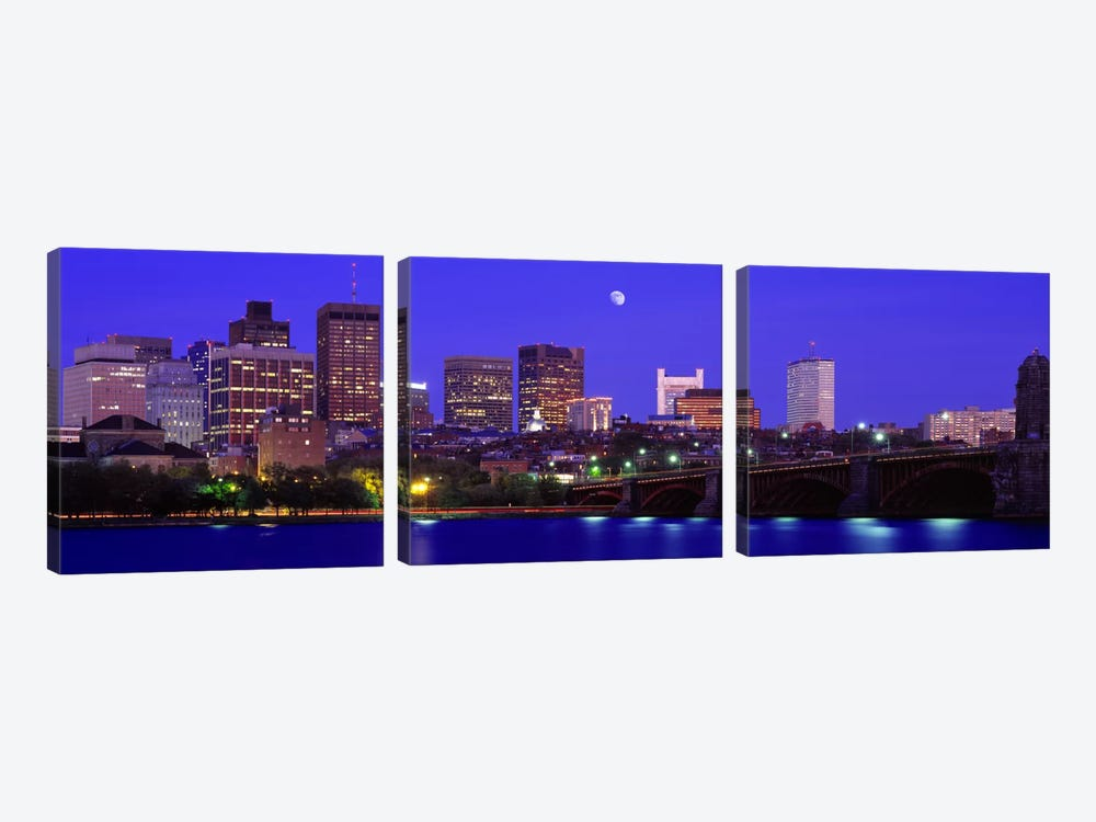 Longfellow Bridge & Financial District As Seen From East Cambridge, Boston Massachusetts, USA by Panoramic Images 3-piece Canvas Print