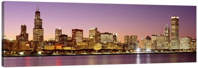 Dusk Skyline Chicago IL USA Canvas Art Print