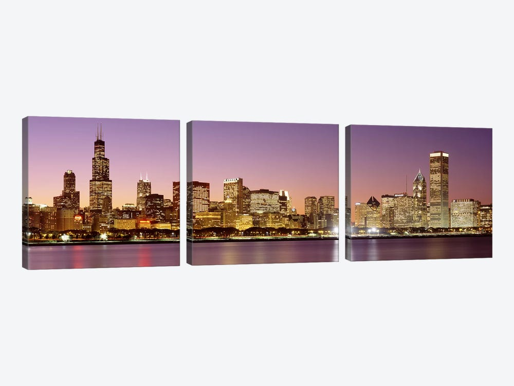 Dusk Skyline Chicago IL USA by Panoramic Images 3-piece Canvas Print