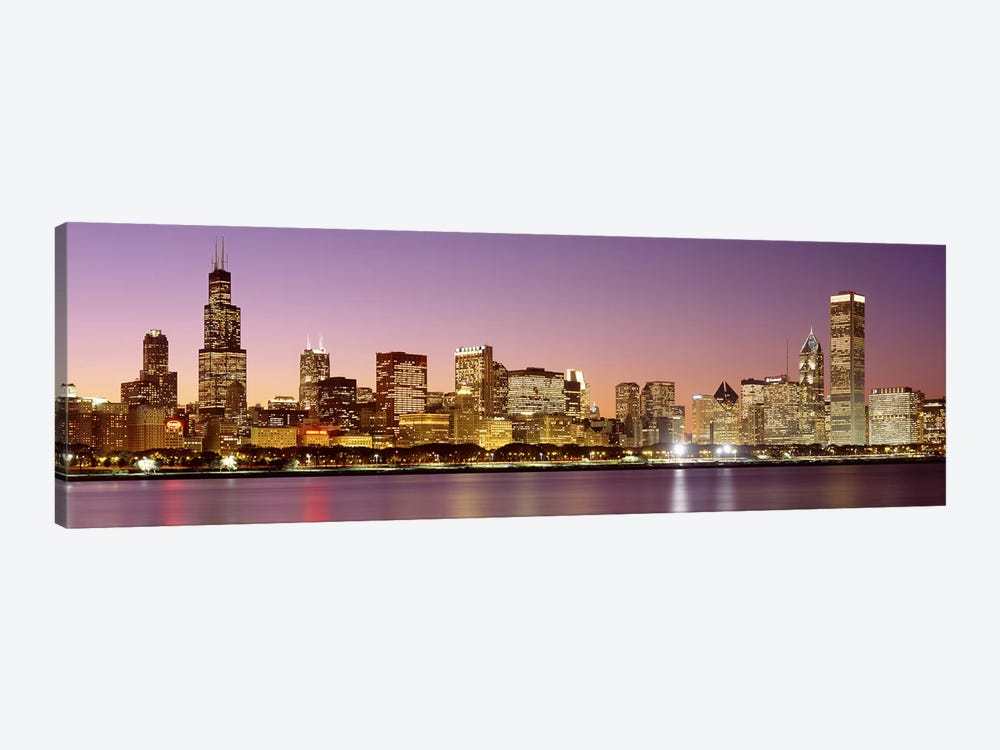 Dusk Skyline Chicago Il Usa Canvas Wall Art Icanvas