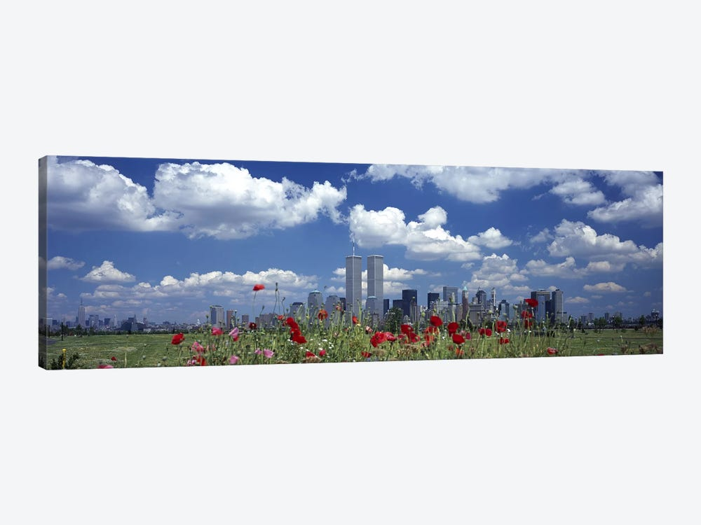Flowers in a park with buildings in the background, Manhattan, New York City, New York State, USA by Panoramic Images 1-piece Canvas Wall Art