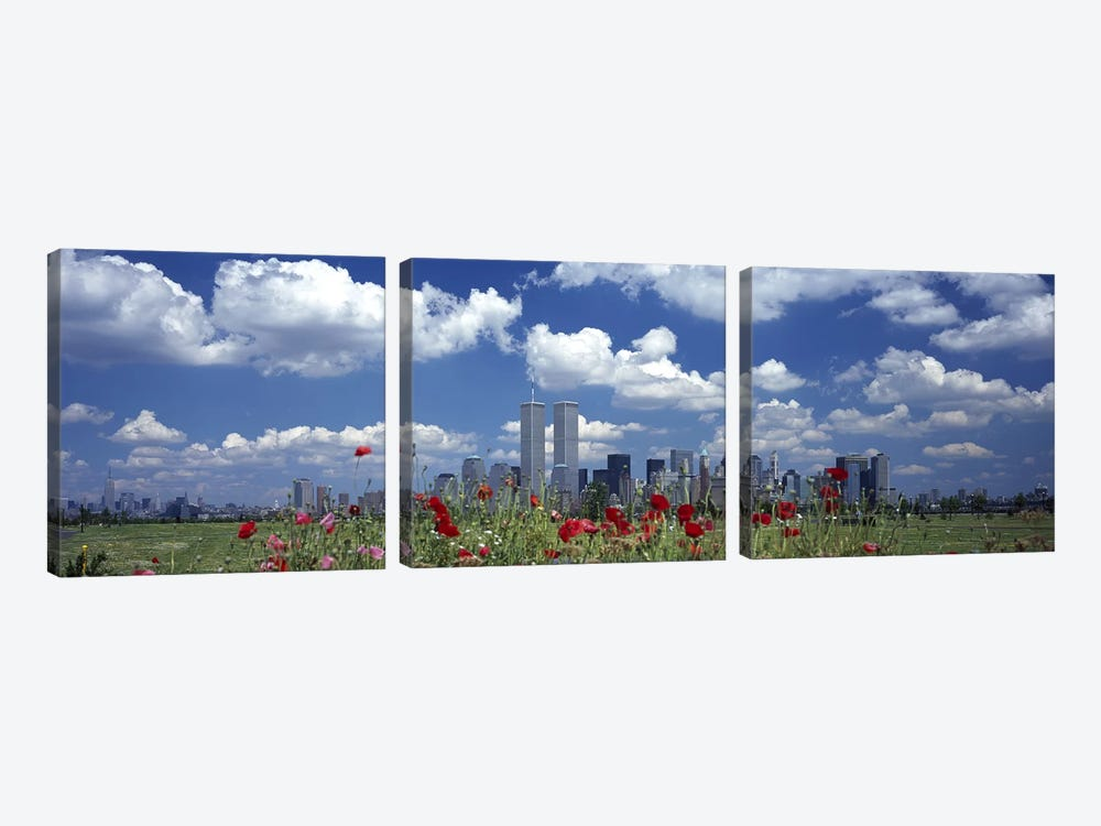 Flowers in a park with buildings in the background, Manhattan, New York City, New York State, USA by Panoramic Images 3-piece Canvas Artwork
