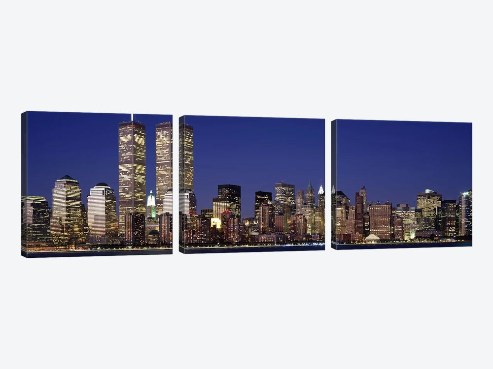 Skyscrapers in a city, World Trade Center, Manhattan, New York City, New York State, USA by Panoramic Images 3-piece Canvas Artwork