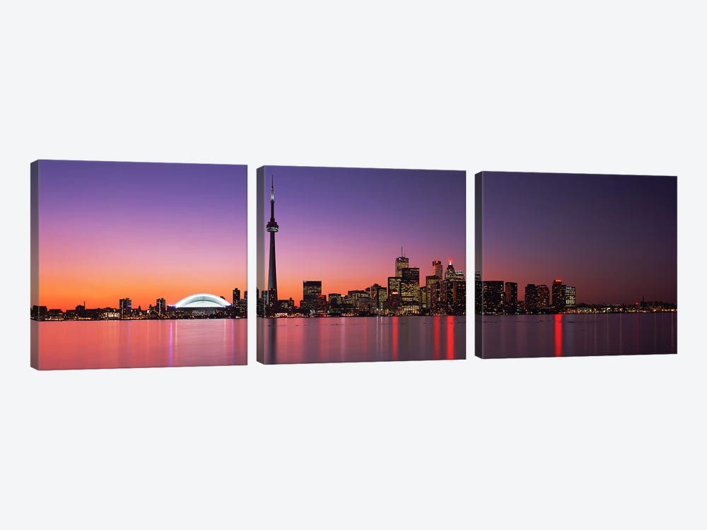 Downtown Skyline At Night, Toronto, Ontario, Canada by Panoramic Images 3-piece Art Print