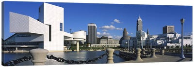 Building at the waterfront, Rock And Roll Hall Of Fame, Cleveland, Ohio, USA Canvas Art Print