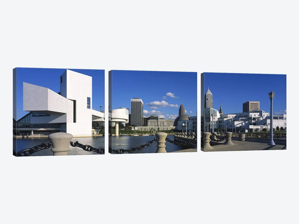 Building at the waterfront, Rock And Roll Hall Of Fame, Cleveland, Ohio, USA by Panoramic Images 3-piece Canvas Artwork