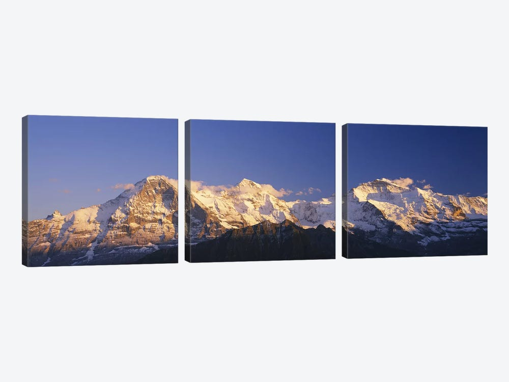 Snowcapped Mountainscape, Bernese Oberland, Switzerland by Panoramic Images 3-piece Canvas Print