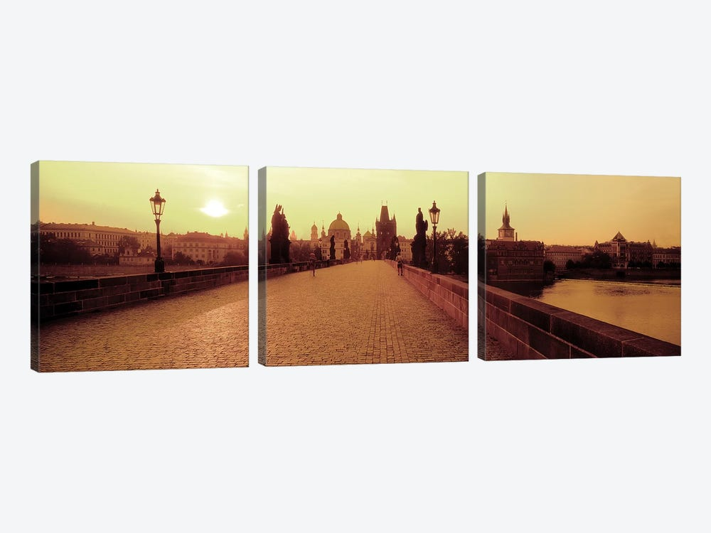 Charles Bridge II, Prague, Czech Republic by Panoramic Images 3-piece Canvas Art Print