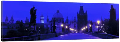 Charles Bridge At Night, Prague, Czech Republic Canvas Art Print