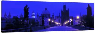 Charles Bridge At Night, Prague, Czech Republic Canvas Art Print