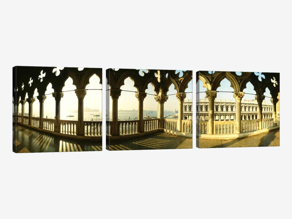 Venetian Gothic Balcony, Doge's Palace (Palazzo Ducale), Venice, Italy by Panoramic Images 3-piece Canvas Artwork