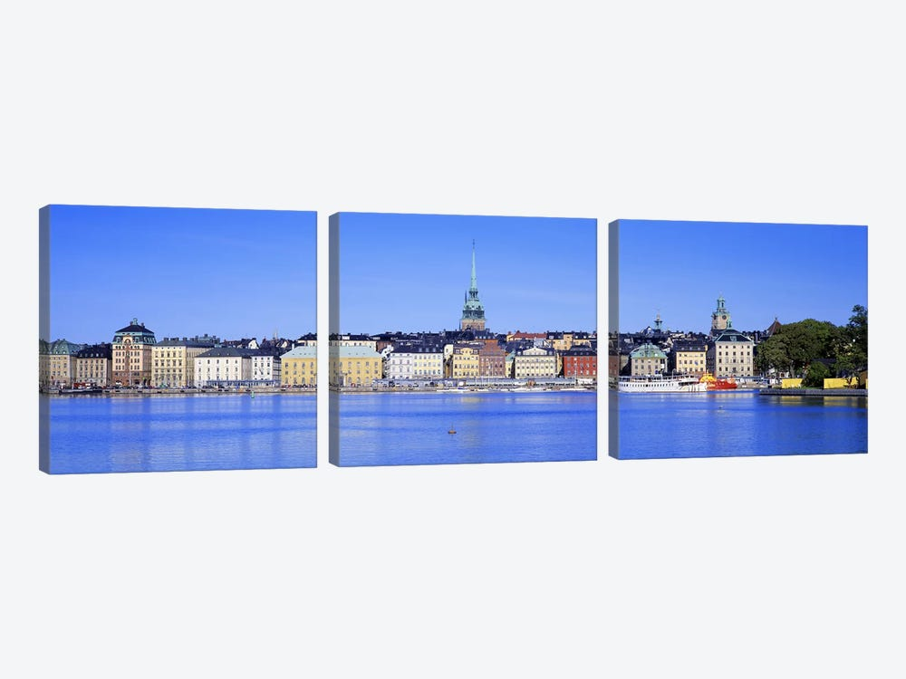 Wide-Angle View Of Gamla Stan (Old Town), Stockholm, Sweden by Panoramic Images 3-piece Canvas Art