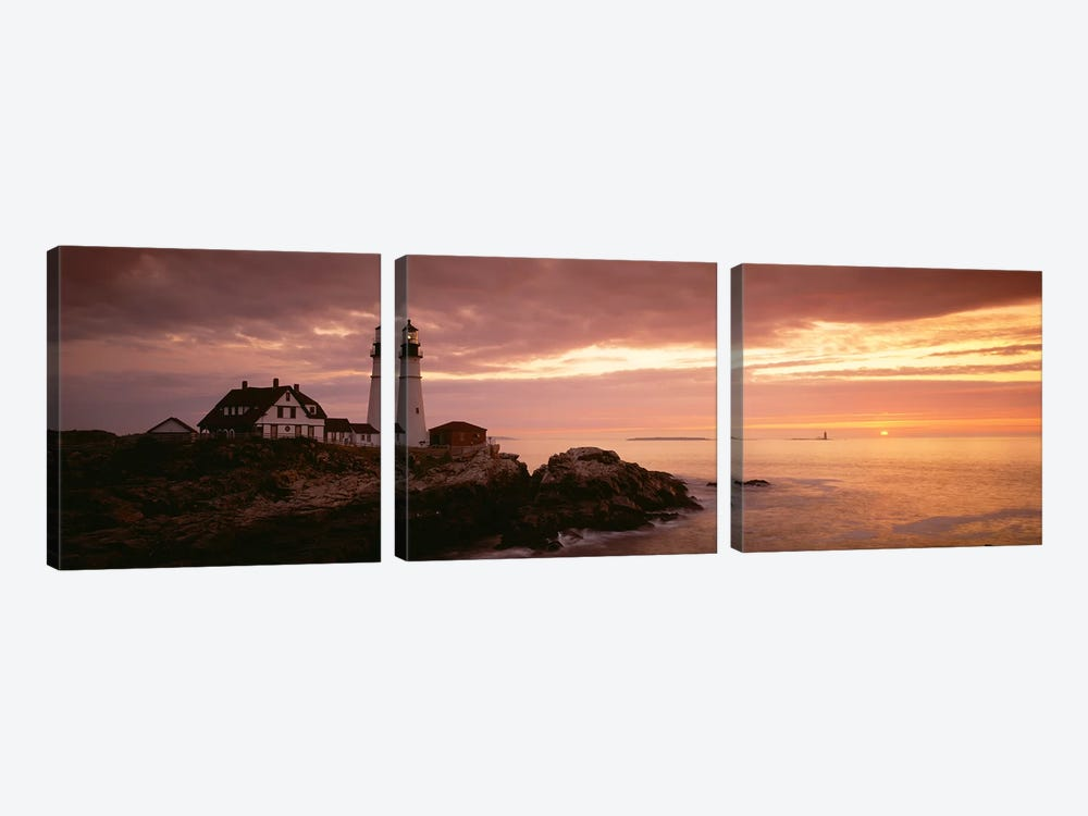 Portland Head Lighthouse, Cape Elizabeth, Maine, USA by Panoramic Images 3-piece Art Print