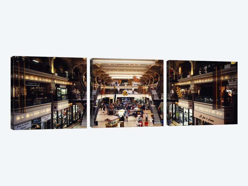 Interiors of a shopping mall, Bourse Shopping Center, Philadelphia, Pennsylvania, USA by Panoramic Images 3-piece Canvas Art