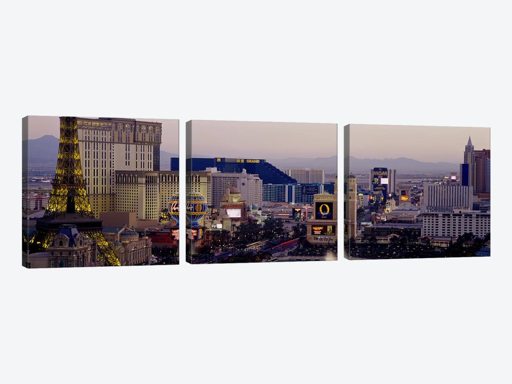 High angle view of buildings in a city, Las Vegas, Nevada, USA by Panoramic Images 3-piece Canvas Art Print
