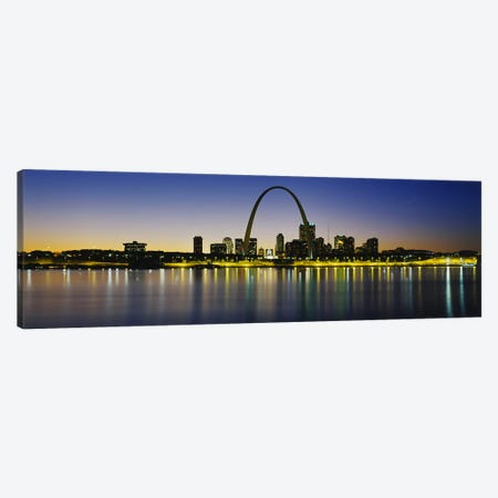 Nighttime Skyline Reflections, St. Louis, Missouri, USA Canvas Print #PIM2703} by Panoramic Images Canvas Art