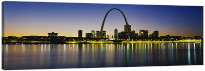 Nighttime Skyline Reflections, St. Louis, Missouri, USA Canvas Art Print