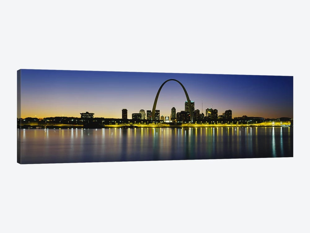 Nighttime Skyline Reflections, St. Louis, Missouri, USA by Panoramic Images 1-piece Canvas Art