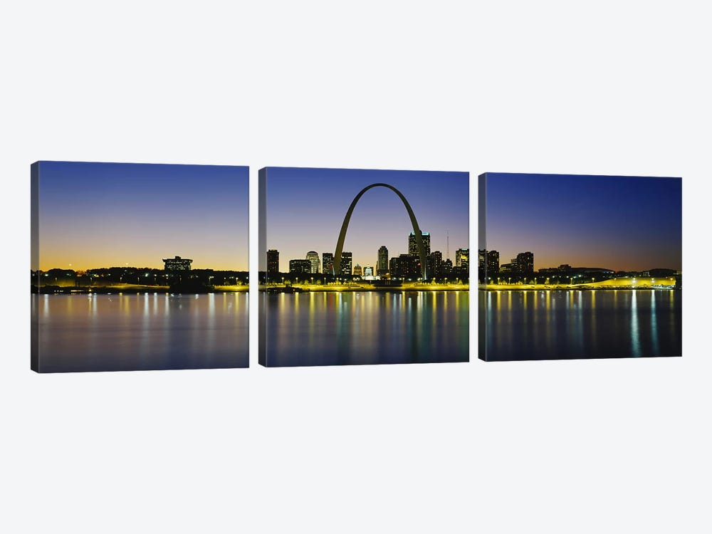 Nighttime Skyline Reflections, St. Louis, Missouri, USA by Panoramic Images 3-piece Canvas Artwork