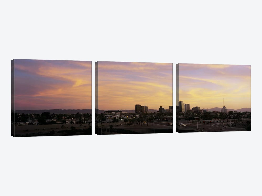 Sunset Skyline Phoenix AZ USA by Panoramic Images 3-piece Canvas Print