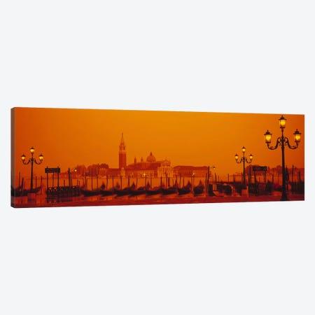 Docked Gondolas At Stazio Molo With San Giorgio Maggiore In The Background, Venice, Veneto, Italy Canvas Print #PIM2723} by Panoramic Images Canvas Artwork