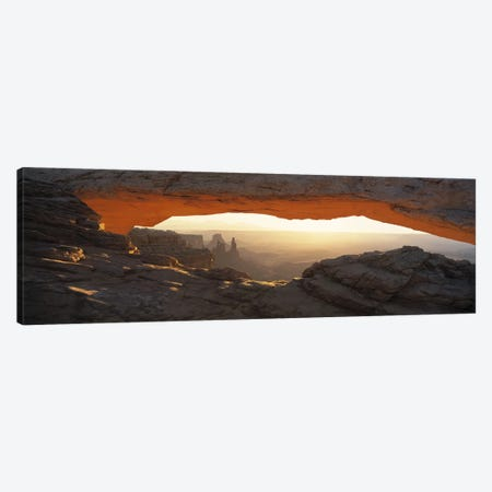 Glowing Daytime View Through Mesa Arch, Canyonlands National Park, Utah, USA 3-Piece Canvas #PIM2733} by Panoramic Images Canvas Art Print