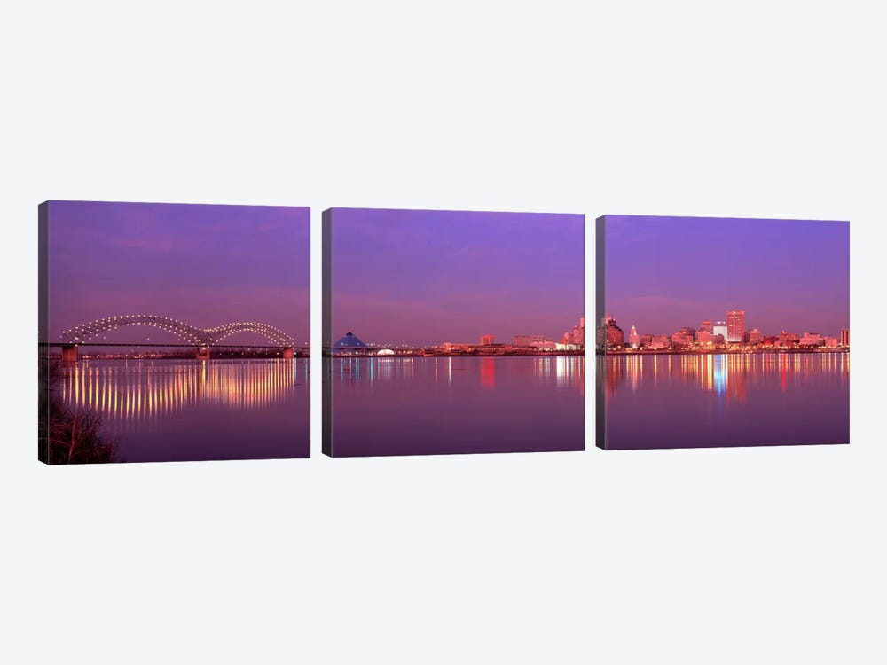 Night Memphis TN by Panoramic Images 3-piece Canvas Art Print